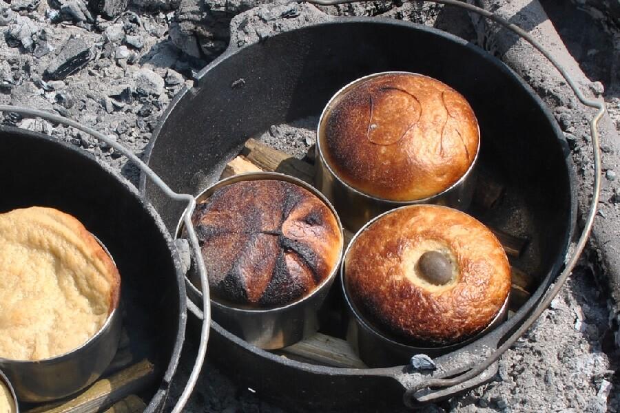 Bread baking in Dutch ovens
