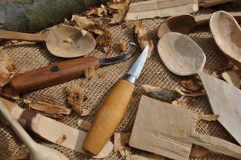 Wood carving tools by knife by Mora and crook knife by Ben Orford