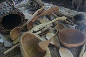 Wood whittled utensils
